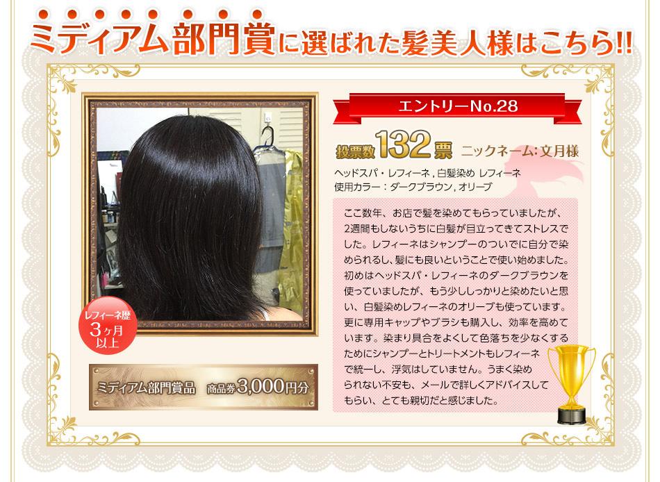 第6回 レフィーネ髪美人グランプリ ミディアム部門賞はニックネーム文月様