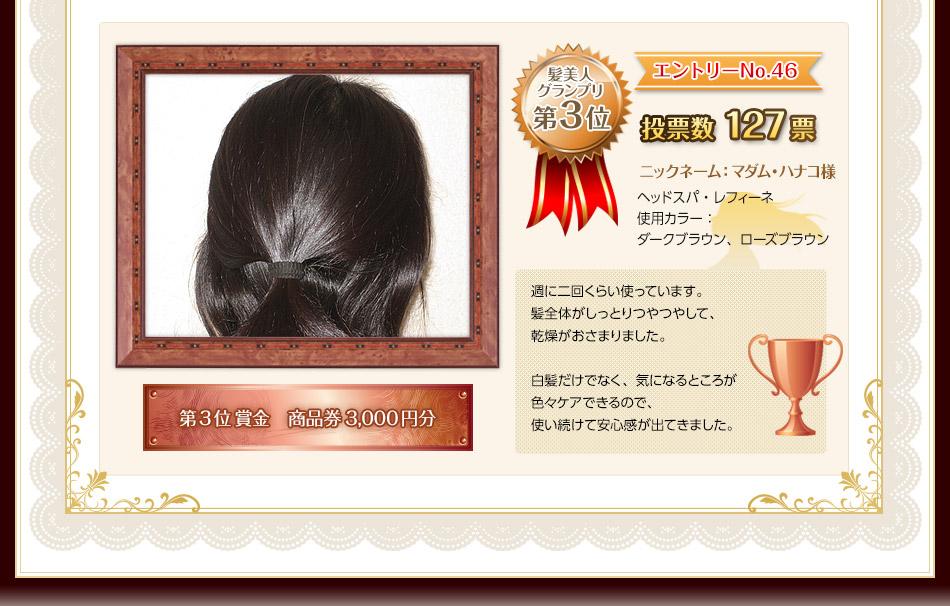 髪美人グランプリ第3位は、エントリーナンバー46番!投票総数127票!ニックネーム:マダム・ハナコ様