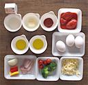 さまざまな野菜のフリッタータ材料