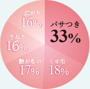 パサつき33% クセ毛18% 艶がない17% うねり16% 広がり16%