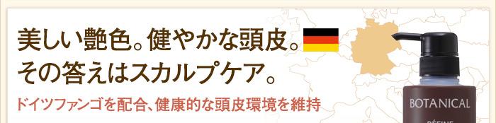 美しい艶色。健やかな頭皮。その答えはスカルプケア。ドイツファンゴを配合、健康的な頭皮環境を維持。