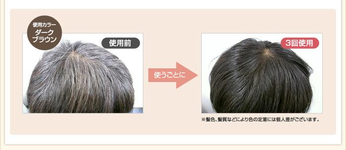 使うごとに艶やかな美髪へ。使用カラーはヘッドスパカラーのダークブラウン。