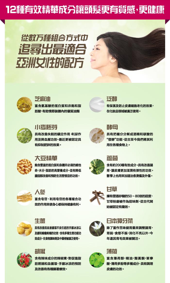 12種有效精華成分讓頭髮更有質感,更健康 從數万種組合方式中 追尋出最適合 亞洲女性的配方